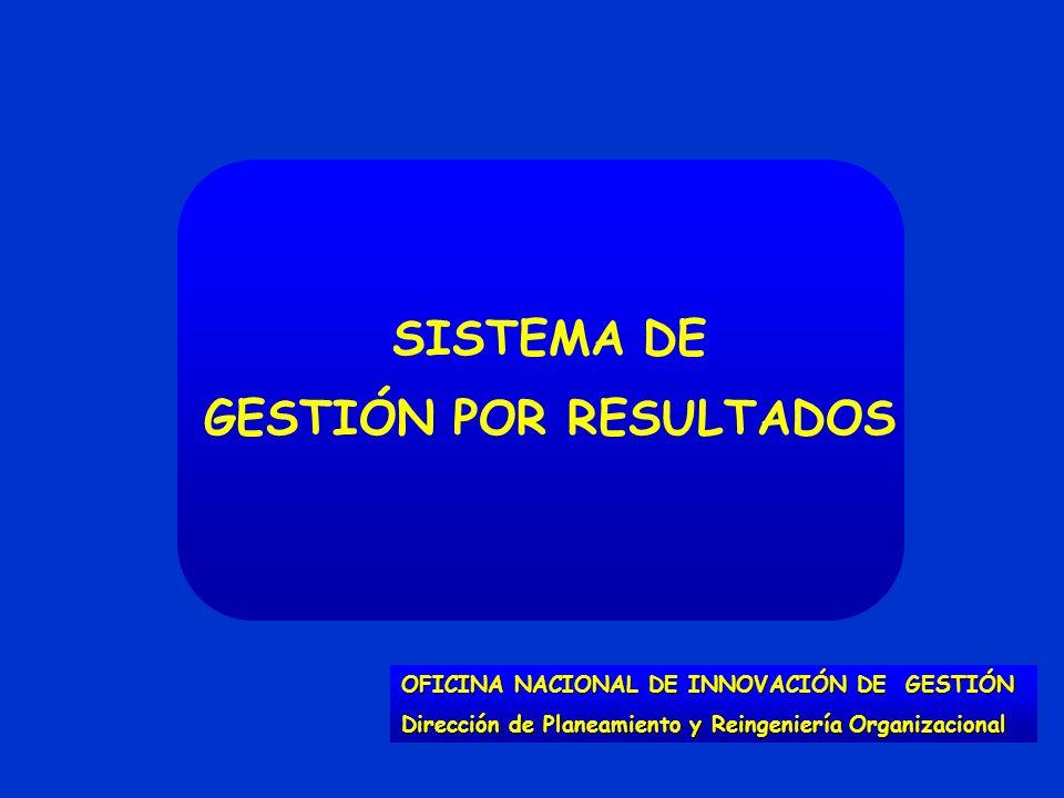 SISTEMA DE GESTIÓN POR RESULTADOS OFICINA NACIONAL DE INNOVACIÓN DE GESTIÓN Dirección de Planeamiento y Reingeniería Organizacional