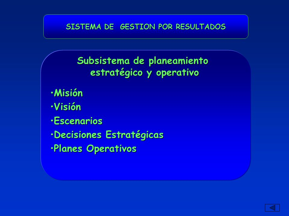 SISTEMA DE GESTION POR RESULTADOS MisiónMisión VisiónVisión EscenariosEscenarios Decisiones EstratégicasDecisiones Estratégicas Planes OperativosPlanes Operativos Subsistema de planeamiento estratégico y operativo estratégico y operativo