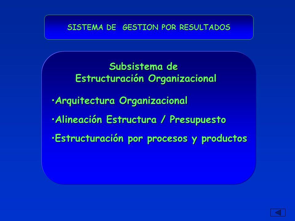 SISTEMA DE GESTION POR RESULTADOS Arquitectura OrganizacionalArquitectura Organizacional Alineación Estructura / PresupuestoAlineación Estructura / Presupuesto Estructuración por procesos y productosEstructuración por procesos y productos Subsistema de Estructuración Organizacional