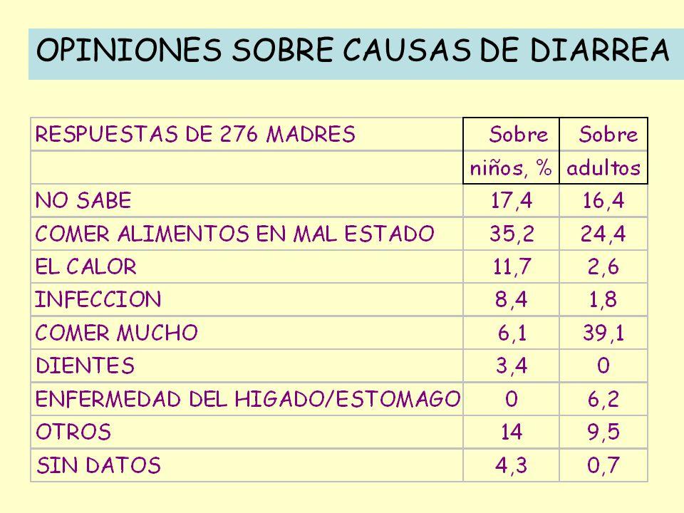 OPINIONES SOBRE CAUSAS DE DIARREA
