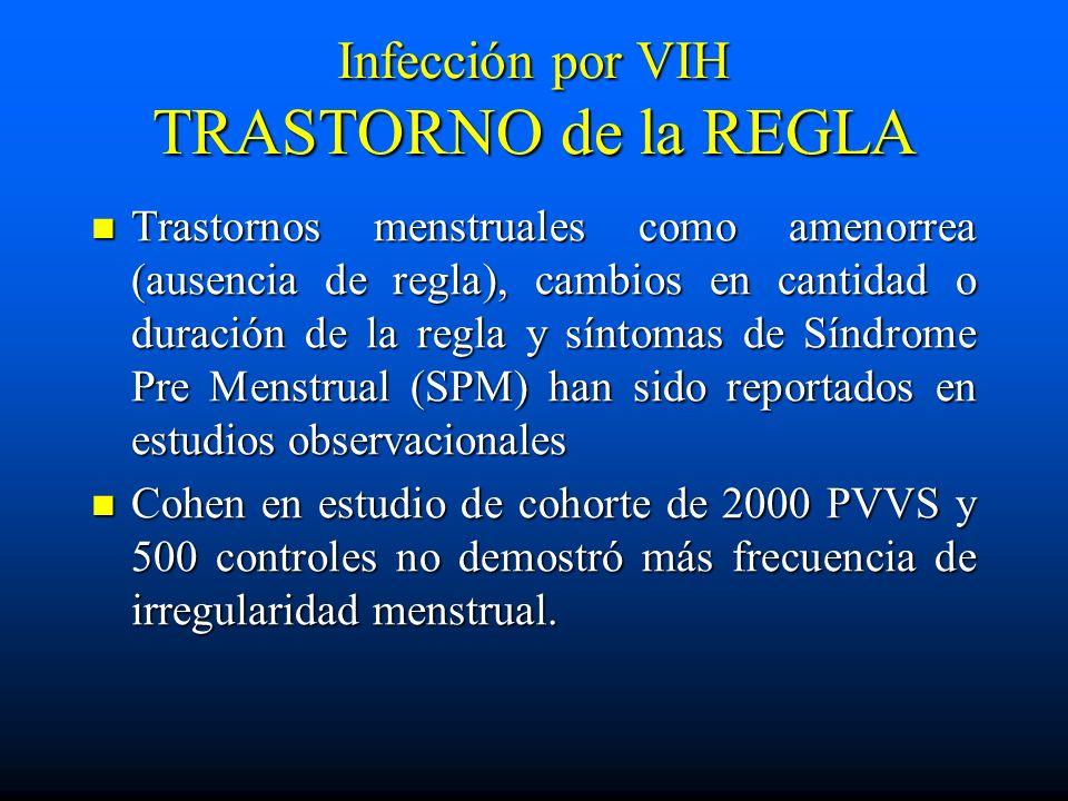 Infección por VIH TRASTORNO de la REGLA Trastornos menstruales como amenorrea (ausencia de regla), cambios en cantidad o duración de la regla y síntom