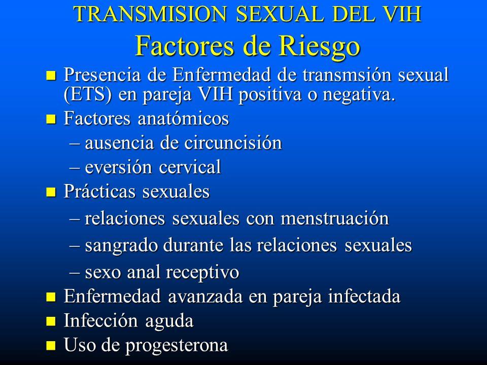 TRANSMISION SEXUAL DEL VIH Factores de Riesgo Presencia de Enfermedad de transmsión sexual (ETS) en pareja VIH positiva o negativa. Presencia de Enfer