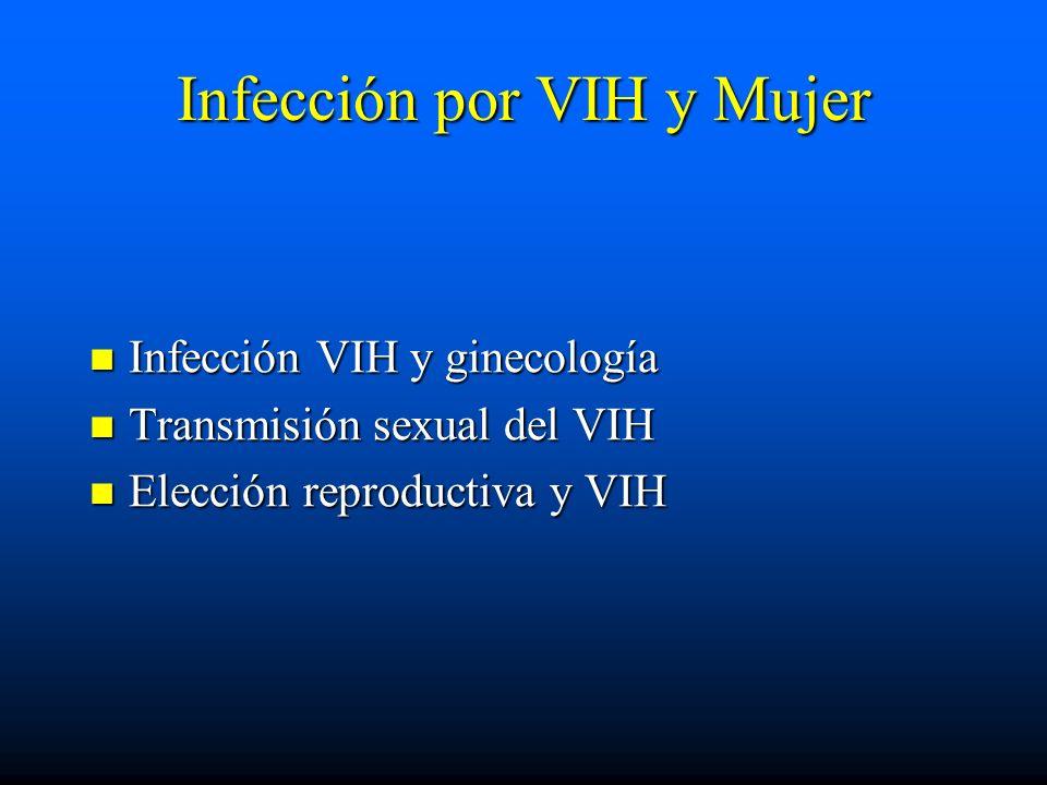 Infección por VIH y Mujer Infección VIH y ginecología Infección VIH y ginecología Transmisión sexual del VIH Transmisión sexual del VIH Elección repro