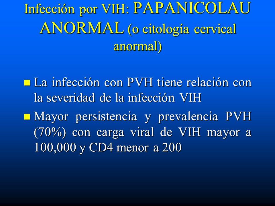 Infección por VIH: PAPANICOLAU ANORMAL (o citología cervical anormal) La infección con PVH tiene relación con la severidad de la infección VIH La infe