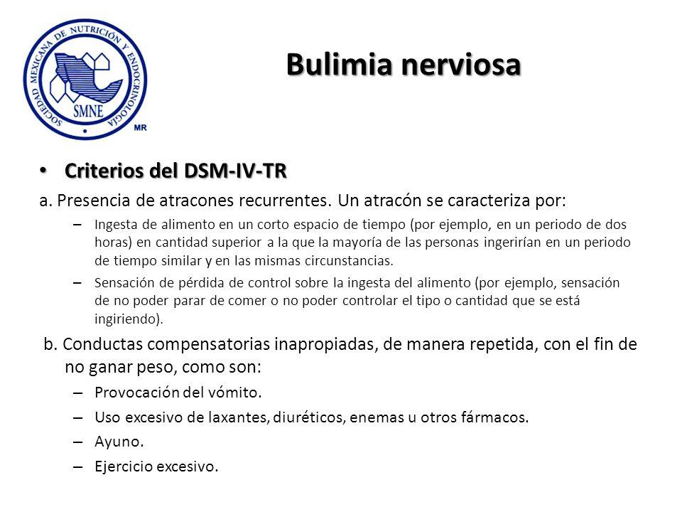 Bulimia nerviosa Criterios del DSM-IV-TR Criterios del DSM-IV-TR a. Presencia de atracones recurrentes. Un atracón se caracteriza por: – Ingesta de al