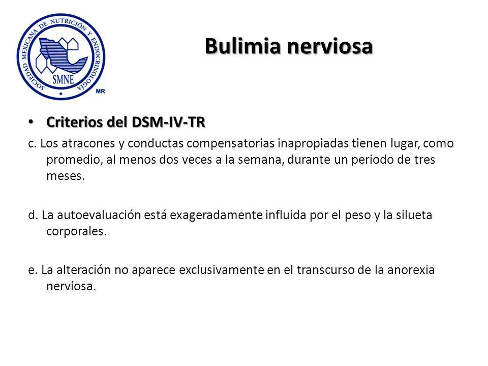 Bulimia nerviosa Criterios del DSM-IV-TR Criterios del DSM-IV-TR c. Los atracones y conductas compensatorias inapropiadas tienen lugar, como promedio,