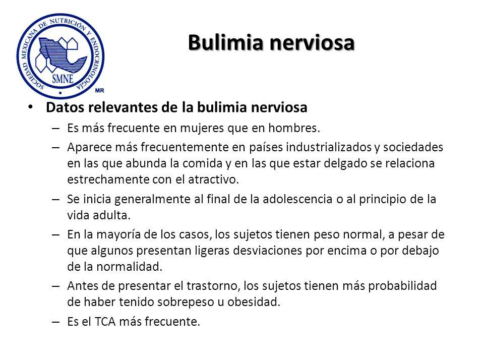 Bulimia nerviosa Datos relevantes de la bulimia nerviosa – Es más frecuente en mujeres que en hombres. – Aparece más frecuentemente en países industri