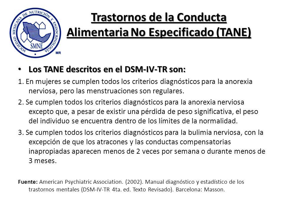 Trastornos de la Conducta Alimentaria No Especificado (TANE) Los TANE descritos en el DSM-IV-TR son: Los TANE descritos en el DSM-IV-TR son: 1. En muj
