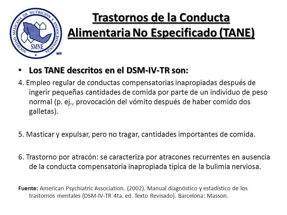 Trastornos de la Conducta Alimentaria No Especificado (TANE) Los TANE descritos en el DSM-IV-TR son: Los TANE descritos en el DSM-IV-TR son: 4. Empleo