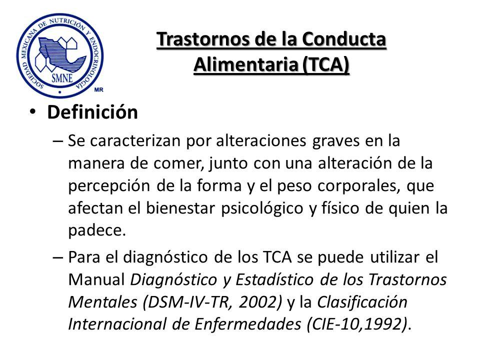 Trastornos de la Conducta Alimentaria (TCA) Definición – Se caracterizan por alteraciones graves en la manera de comer, junto con una alteración de la