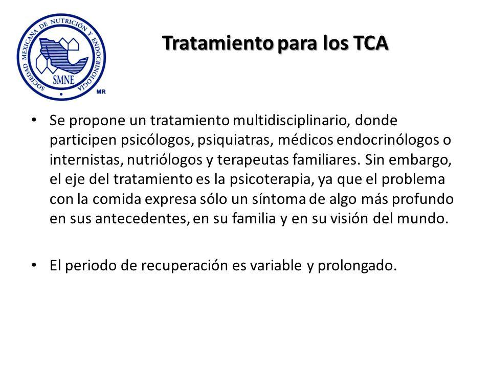 Tratamiento para los TCA Se propone un tratamiento multidisciplinario, donde participen psicólogos, psiquiatras, médicos endocrinólogos o internistas,