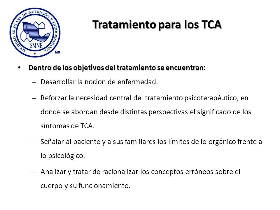 Tratamiento para los TCA Dentro de los objetivos del tratamiento se encuentran: Dentro de los objetivos del tratamiento se encuentran: – Desarrollar l