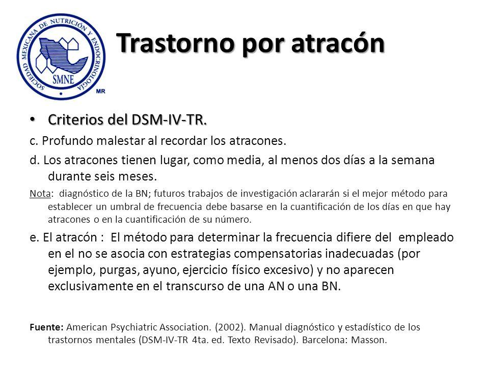 Trastorno por atracón Criterios del DSM-IV-TR. Criterios del DSM-IV-TR. c. Profundo malestar al recordar los atracones. d. Los atracones tienen lugar,