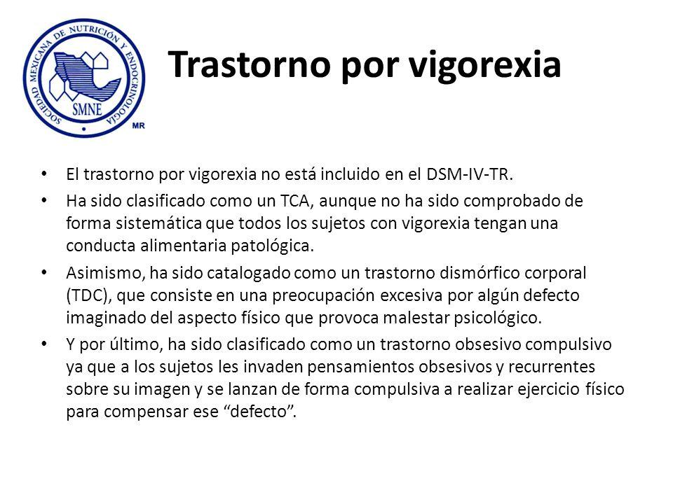 Trastorno por vigorexia El trastorno por vigorexia no está incluido en el DSM-IV-TR. Ha sido clasificado como un TCA, aunque no ha sido comprobado de