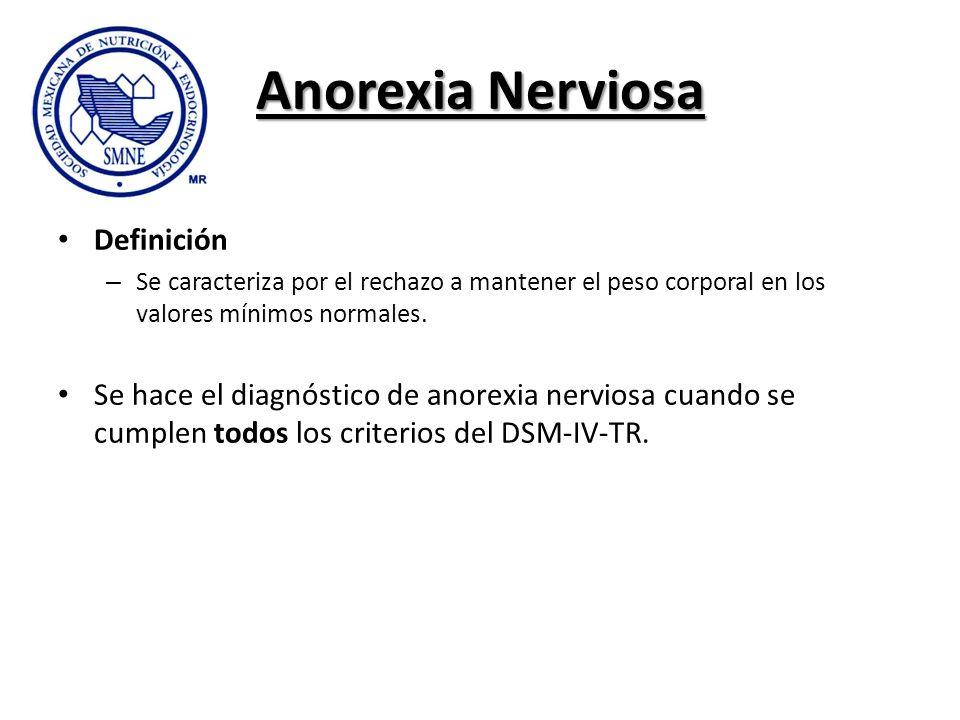 Anorexia Nerviosa Definición – Se caracteriza por el rechazo a mantener el peso corporal en los valores mínimos normales. Se hace el diagnóstico de an