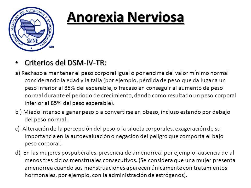 Anorexia Nerviosa Criterios del DSM-IV-TR: Criterios del DSM-IV-TR: a) Rechazo a mantener el peso corporal igual o por encima del valor mínimo normal