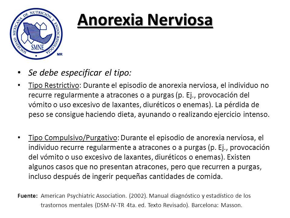 Anorexia Nerviosa Se debe especificar el tipo: Tipo Restrictivo: Durante el episodio de anorexia nerviosa, el individuo no recurre regularmente a atra