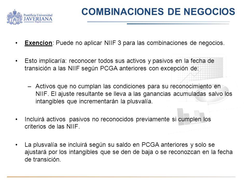 Exencion: Puede no aplicar NIIF 3 para las combinaciones de negocios. Esto implicaría: reconocer todos sus activos y pasivos en la fecha de transición