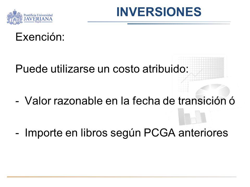 INVERSIONES Exención: Puede utilizarse un costo atribuido: -Valor razonable en la fecha de transición ó -Importe en libros según PCGA anteriores