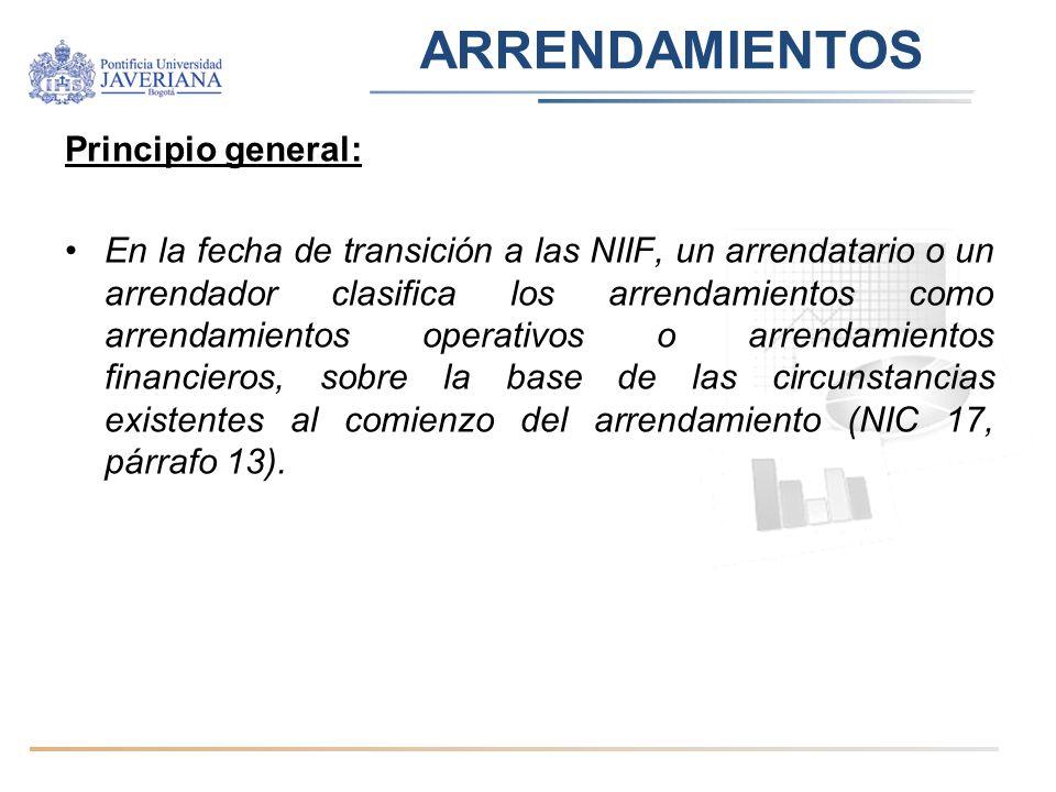 ARRENDAMIENTOS Principio general: En la fecha de transición a las NIIF, un arrendatario o un arrendador clasifica los arrendamientos como arrendamient