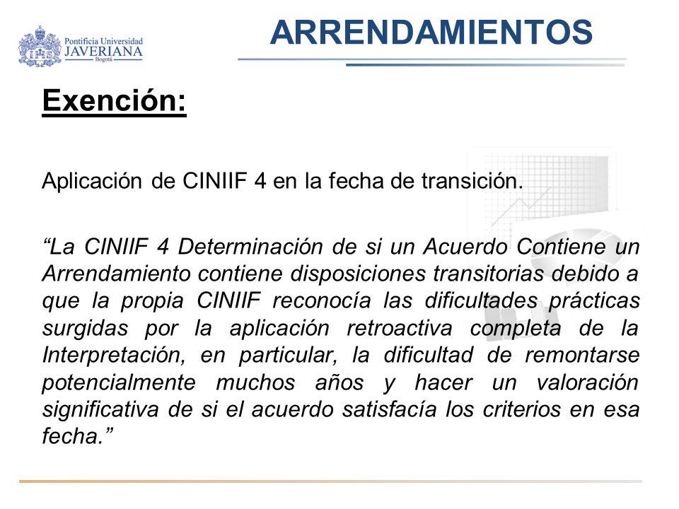 ARRENDAMIENTOS Exención: Aplicación de CINIIF 4 en la fecha de transición. La CINIIF 4 Determinación de si un Acuerdo Contiene un Arrendamiento contie