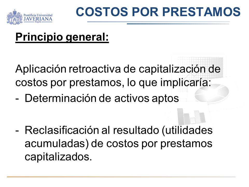COSTOS POR PRESTAMOS Principio general: Aplicación retroactiva de capitalización de costos por prestamos, lo que implicaría: -Determinación de activos