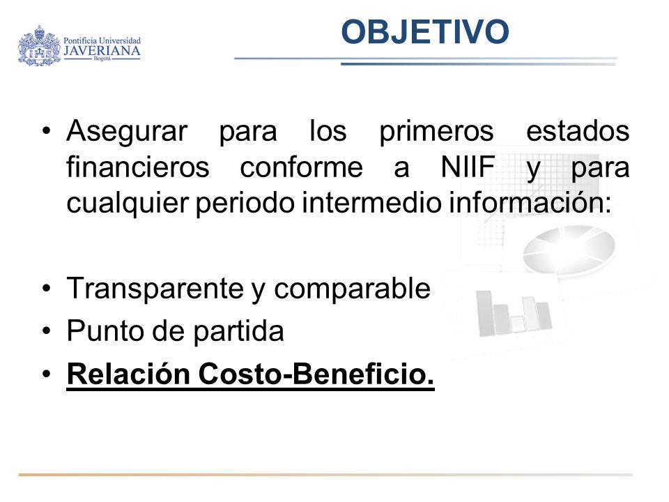 OBJETIVO Asegurar para los primeros estados financieros conforme a NIIF y para cualquier periodo intermedio información: Transparente y comparable Pun