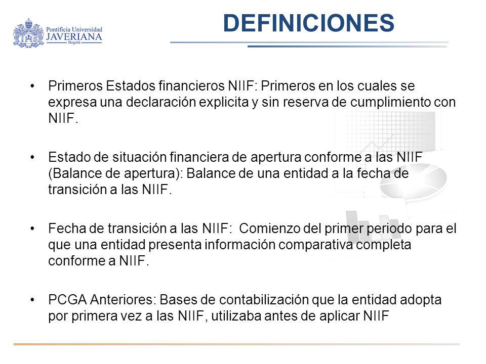 DEFINICIONES Primeros Estados financieros NIIF: Primeros en los cuales se expresa una declaración explicita y sin reserva de cumplimiento con NIIF. Es
