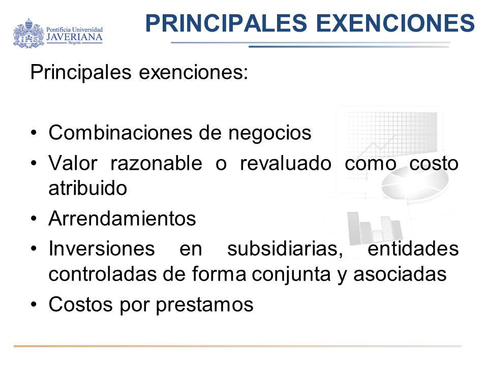PRINCIPALES EXENCIONES Principales exenciones: Combinaciones de negocios Valor razonable o revaluado como costo atribuido Arrendamientos Inversiones e