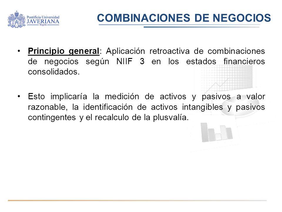 Principio general: Aplicación retroactiva de combinaciones de negocios según NIIF 3 en los estados financieros consolidados. Esto implicaría la medici