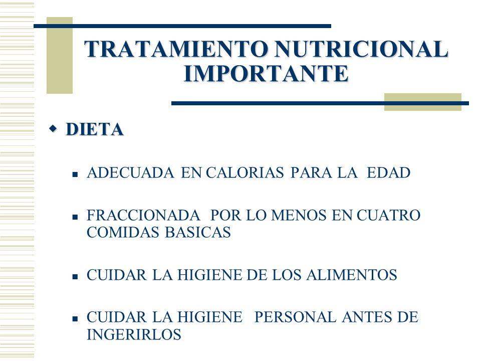 TRATAMIENTO NUTRICIONAL IMPORTANTE DIETA DIETA ADECUADA EN CALORIAS PARA LA EDAD FRACCIONADA POR LO MENOS EN CUATRO COMIDAS BASICAS CUIDAR LA HIGIENE