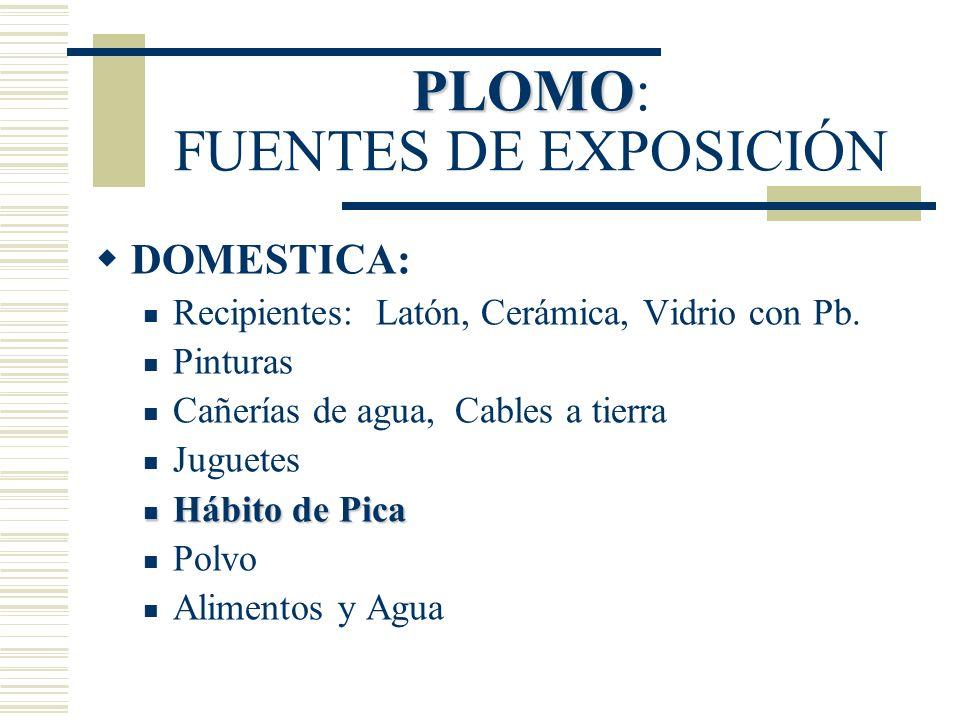 PLOMO PLOMO: FUENTES DE EXPOSICIÓN DOMESTICA: Recipientes: Latón, Cerámica, Vidrio con Pb. Pinturas Cañerías de agua, Cables a tierra Juguetes Hábito