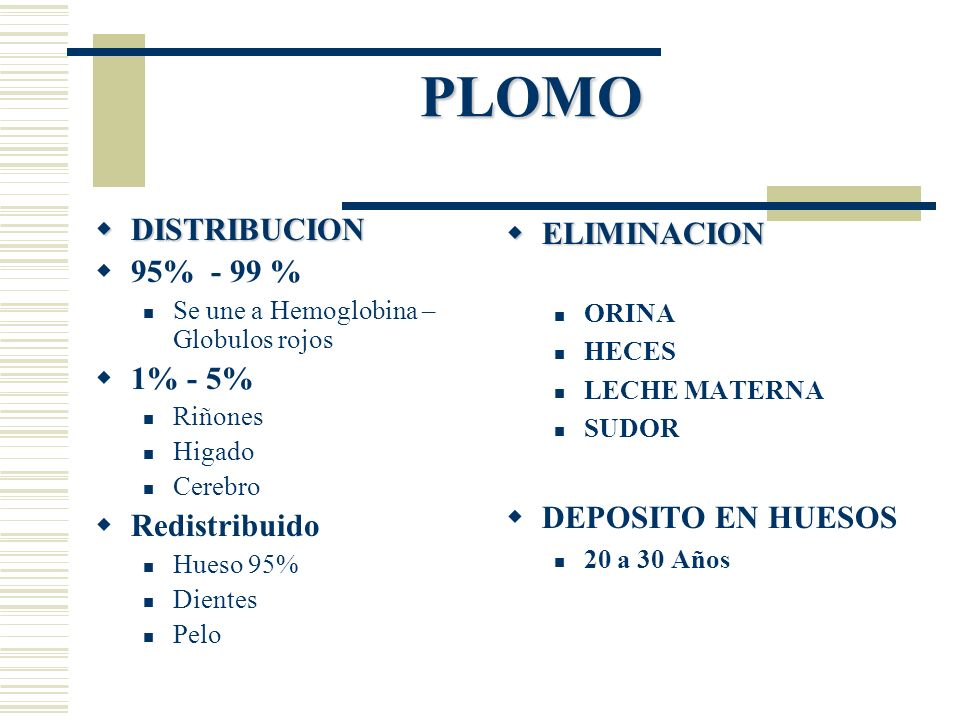 PLOMO DISTRIBUCION DISTRIBUCION 95% - 99 % Se une a Hemoglobina – Globulos rojos 1% - 5% Riñones Higado Cerebro Redistribuido Hueso 95% Dientes Pelo E