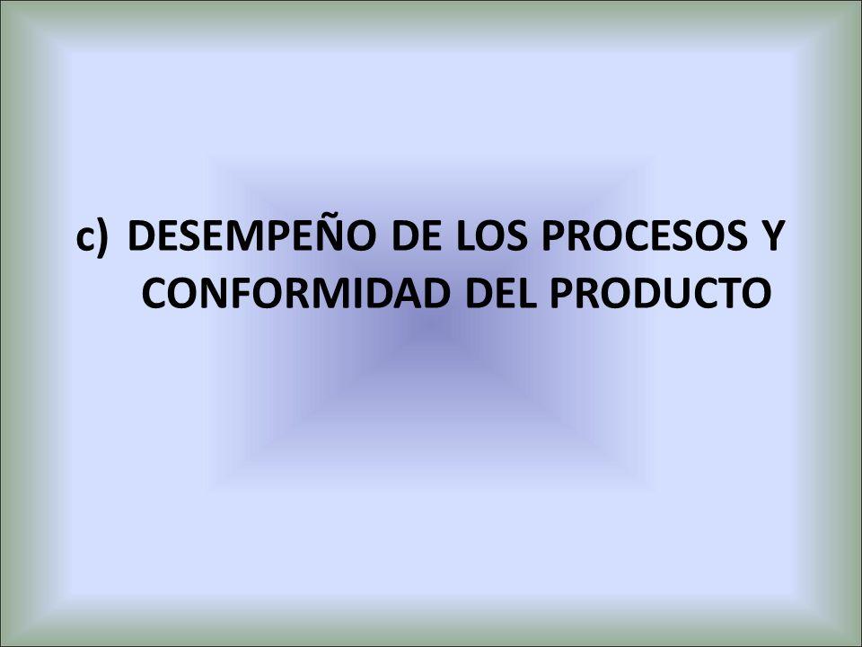 c)DESEMPEÑO DE LOS PROCESOS Y CONFORMIDAD DEL PRODUCTO