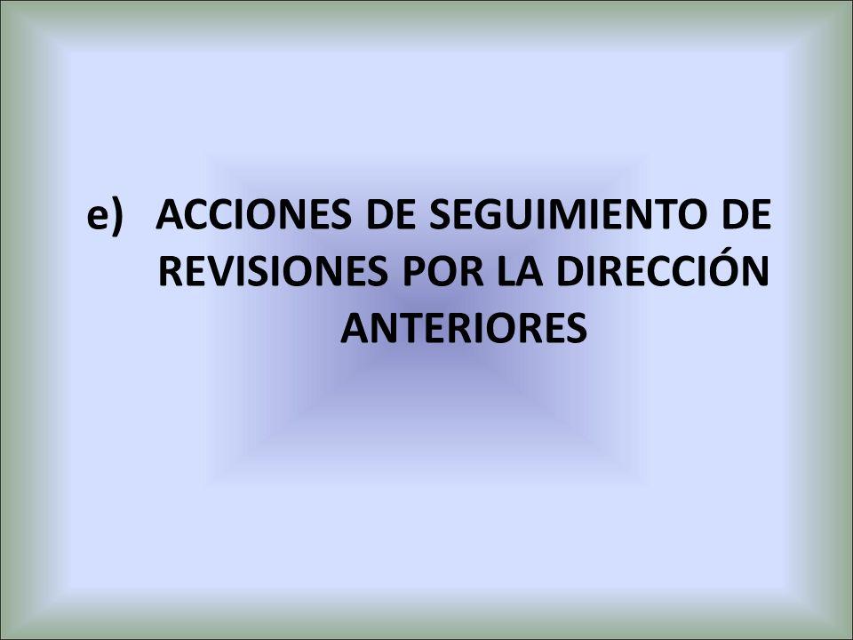 e)ACCIONES DE SEGUIMIENTO DE REVISIONES POR LA DIRECCIÓN ANTERIORES