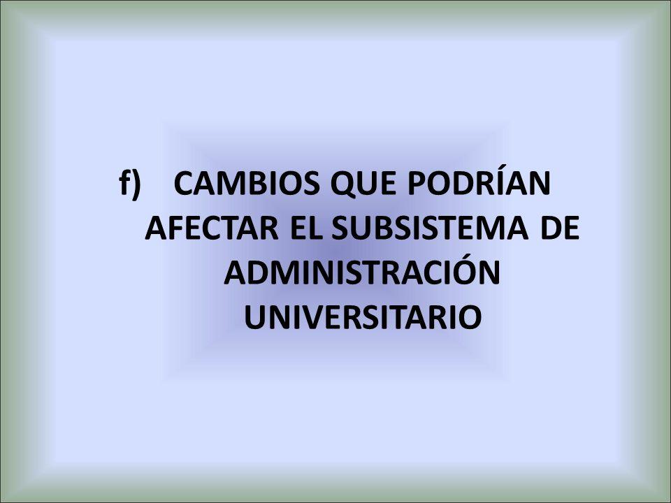 f)CAMBIOS QUE PODRÍAN AFECTAR EL SUBSISTEMA DE ADMINISTRACIÓN UNIVERSITARIO