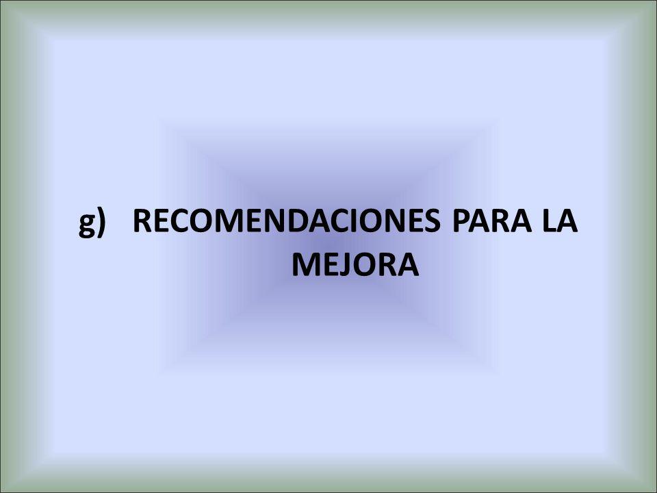 g)RECOMENDACIONES PARA LA MEJORA