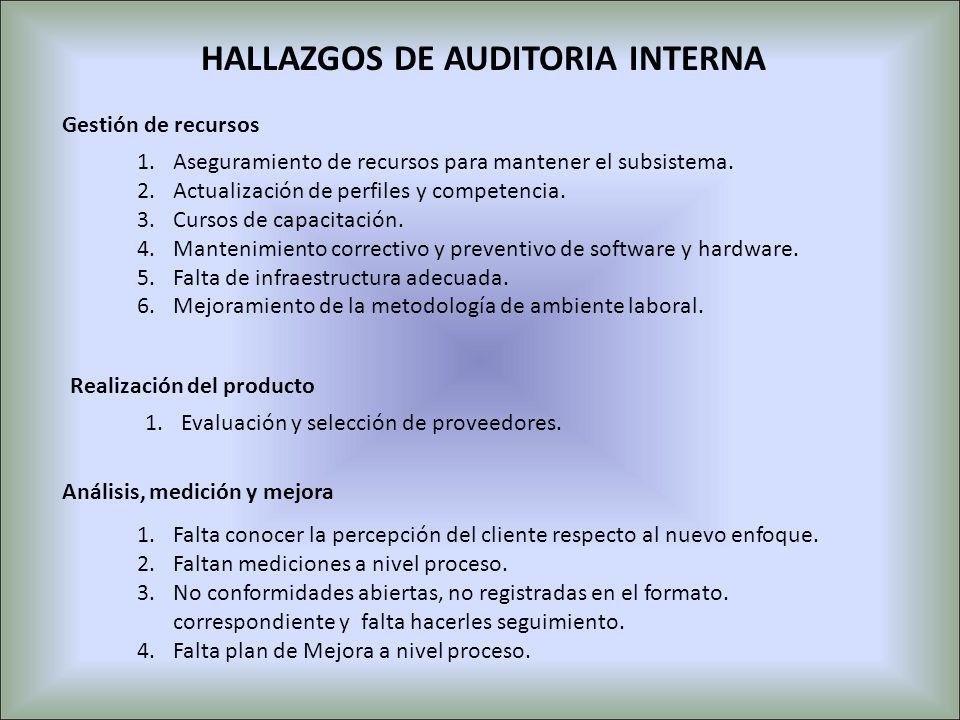 1.Aseguramiento de recursos para mantener el subsistema. 2.Actualización de perfiles y competencia. 3.Cursos de capacitación. 4.Mantenimiento correcti