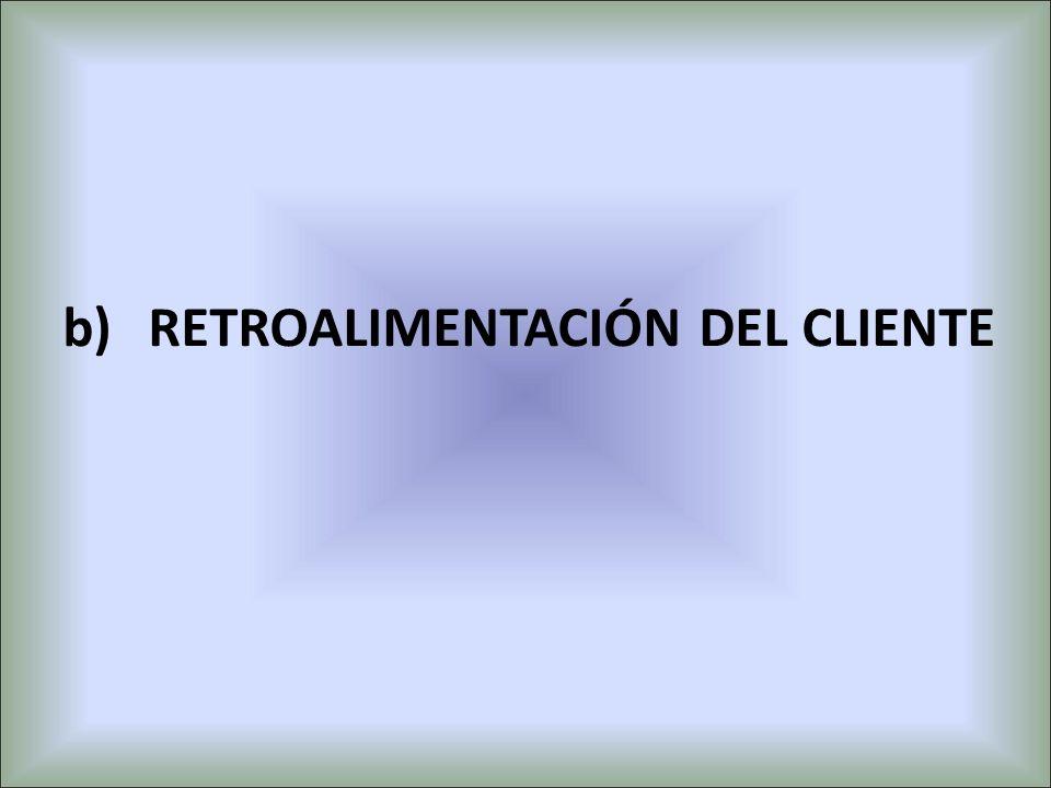 b)RETROALIMENTACIÓN DEL CLIENTE