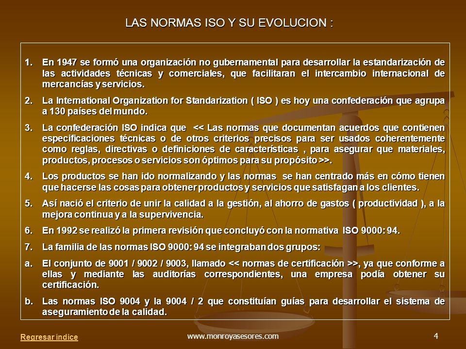 www.monroyasesores.com4 LAS NORMAS ISO Y SU EVOLUCION : 1.En 1947 se formó una organización no gubernamental para desarrollar la estandarización de las actividades técnicas y comerciales, que facilitaran el intercambio internacional de mercancías y servicios.