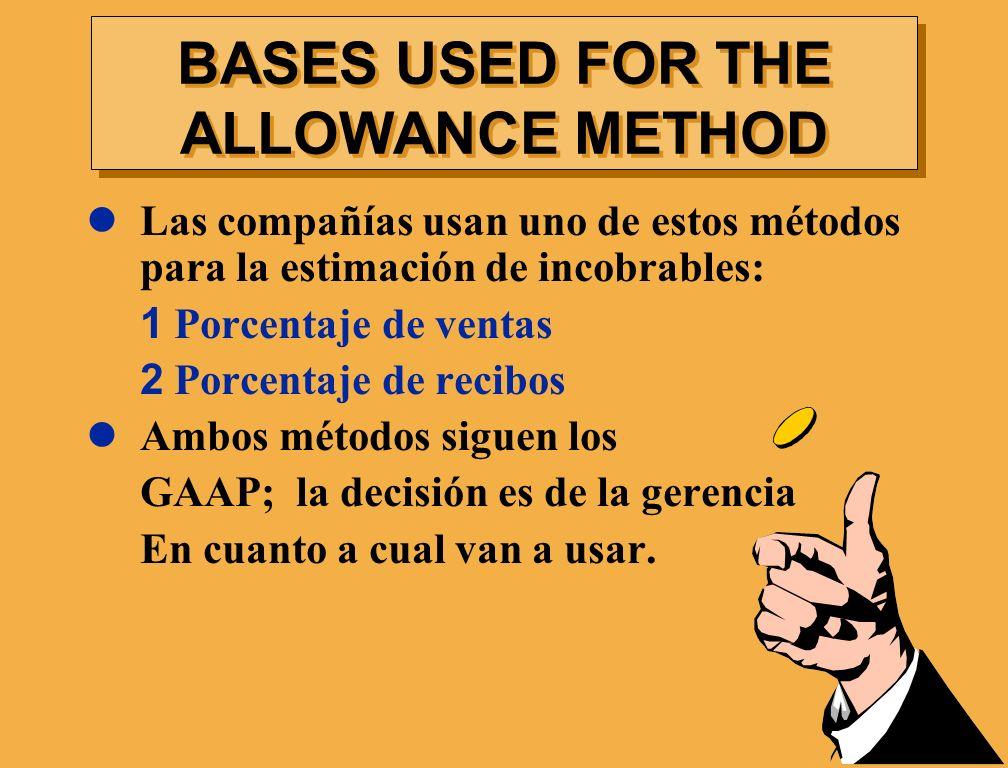 Las compañías usan uno de estos métodos para la estimación de incobrables: 1 Porcentaje de ventas 2 Porcentaje de recibos Ambos métodos siguen los GAA