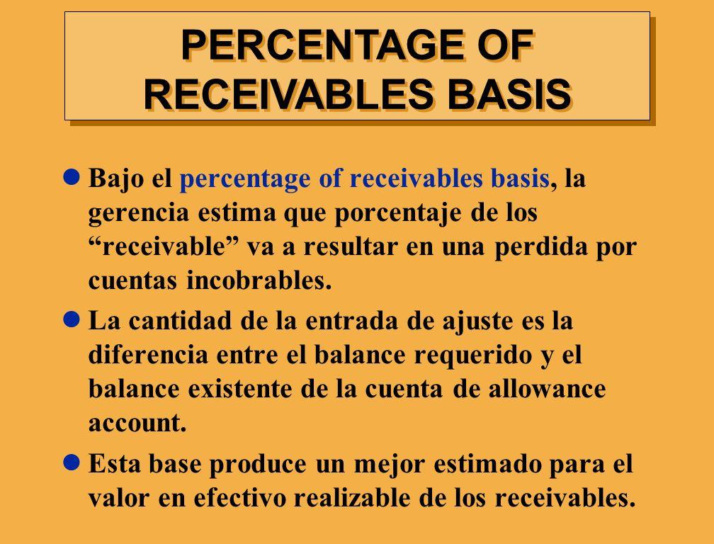 Bajo el percentage of receivables basis, la gerencia estima que porcentaje de los receivable va a resultar en una perdida por cuentas incobrables. La