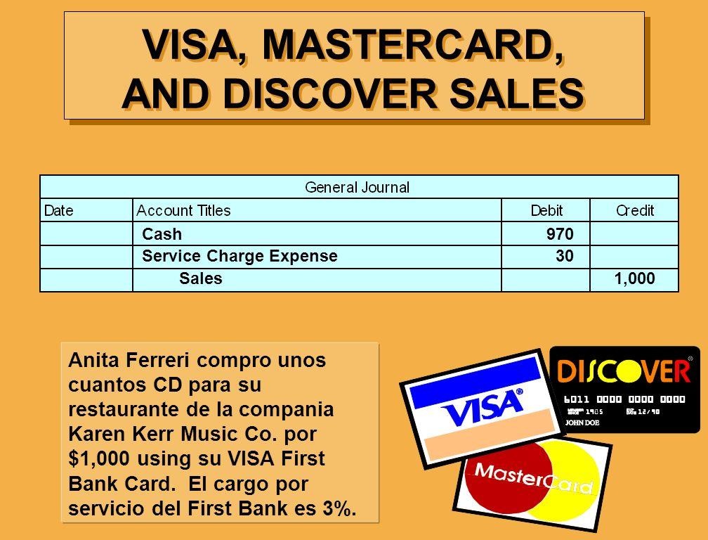 VISA, MASTERCARD, AND DISCOVER SALES Anita Ferreri compro unos cuantos CD para su restaurante de la compania Karen Kerr Music Co. por $1,000 using su