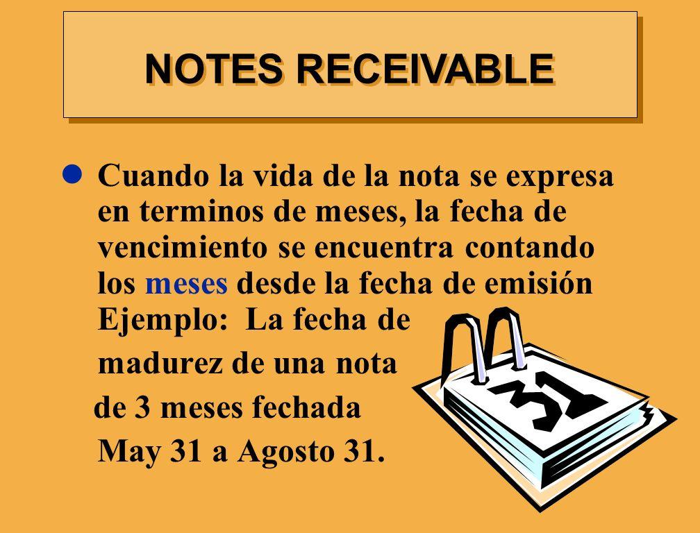 Cuando la vida de la nota se expresa en terminos de meses, la fecha de vencimiento se encuentra contando los meses desde la fecha de emisión Ejemplo: