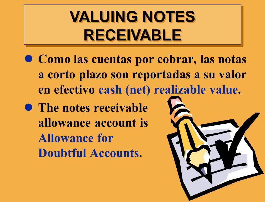 Como las cuentas por cobrar, las notas a corto plazo son reportadas a su valor en efectivo cash (net) realizable value. The notes receivable allowance