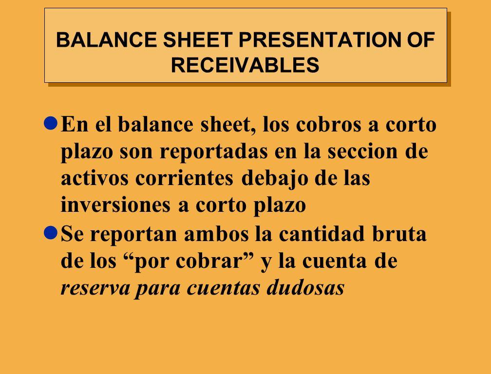 BALANCE SHEET PRESENTATION OF RECEIVABLES En el balance sheet, los cobros a corto plazo son reportadas en la seccion de activos corrientes debajo de l