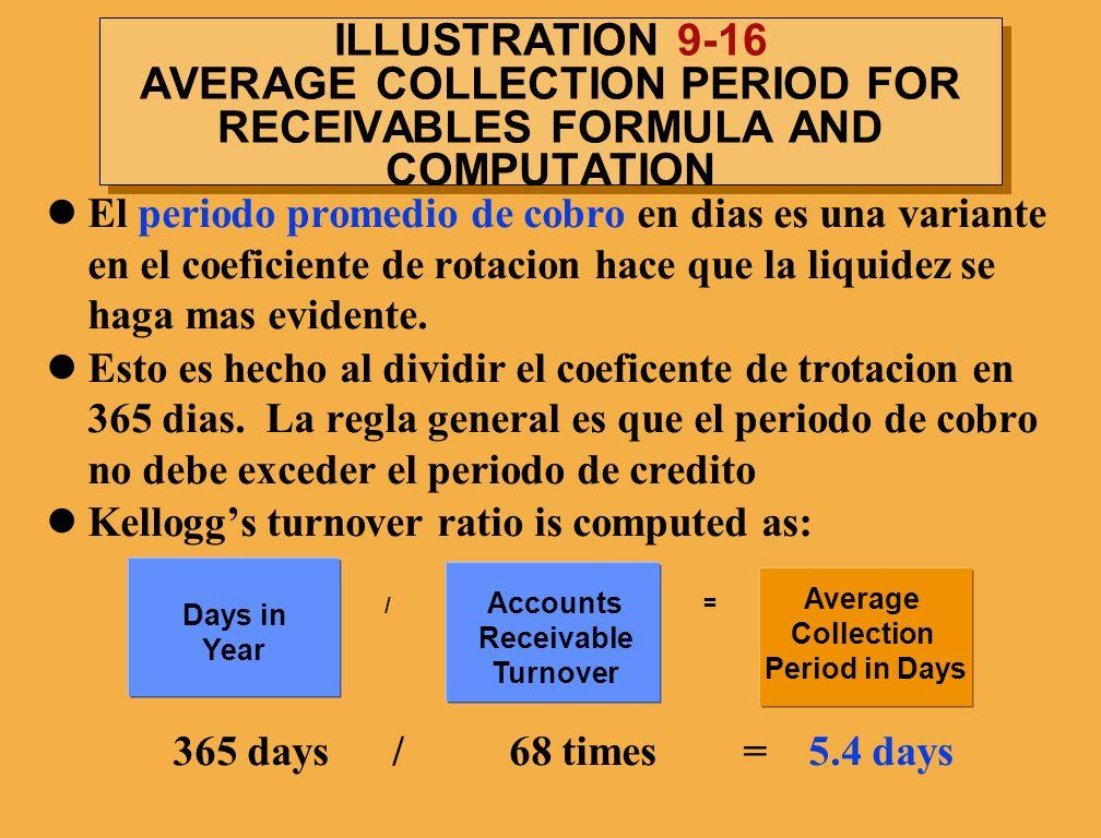 ILLUSTRATION 9-16 AVERAGE COLLECTION PERIOD FOR RECEIVABLES FORMULA AND COMPUTATION El periodo promedio de cobro en dias es una variante en el coefici