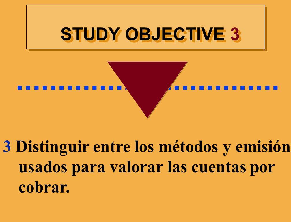STUDY OBJECTIVE 3................................ 3 Distinguir entre los métodos y emisión usados para valorar las cuentas por cobrar.