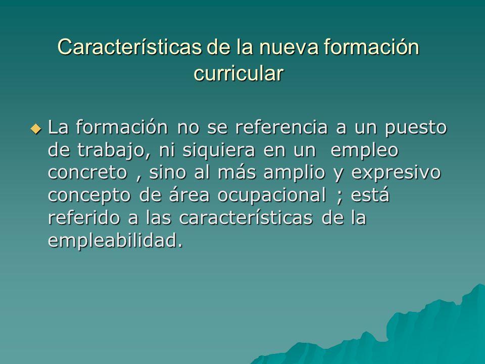 CARACTERÍSTICAS DE UN CURRÍCULO POR COMPETENCIAS Enfoca el desempeño laboral y no los contenidos.
