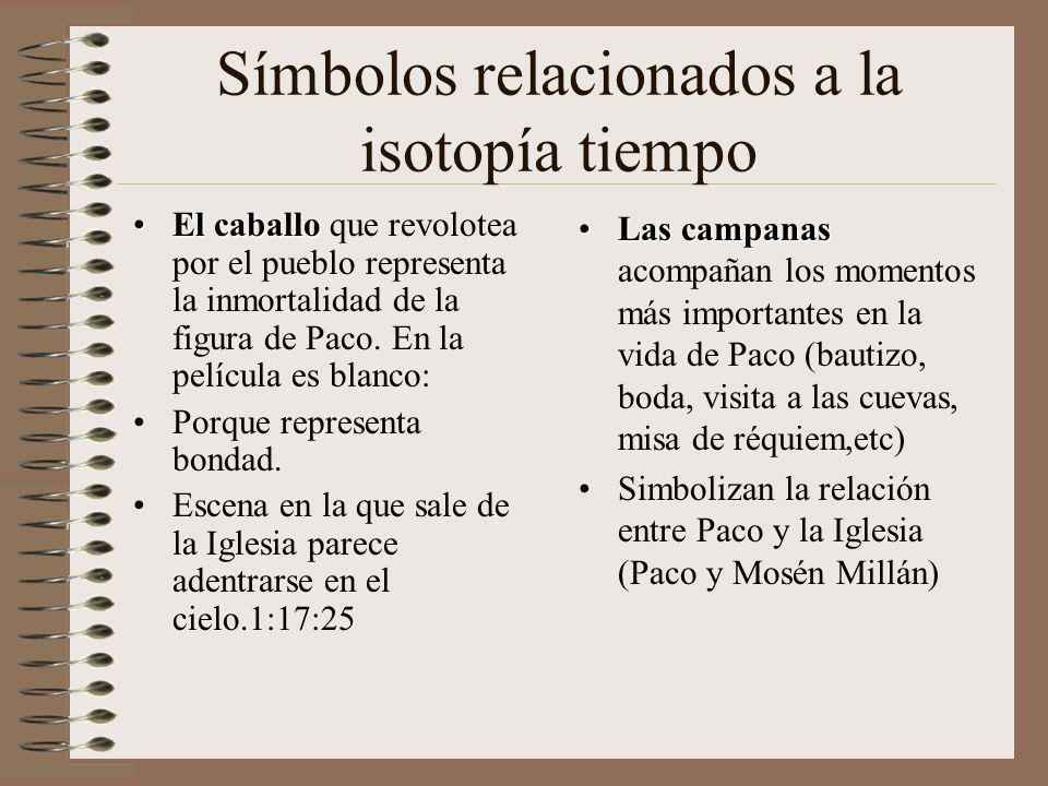 Símbolos relacionados a la isotopía tiempo El caballoEl caballo que revolotea por el pueblo representa la inmortalidad de la figura de Paco.